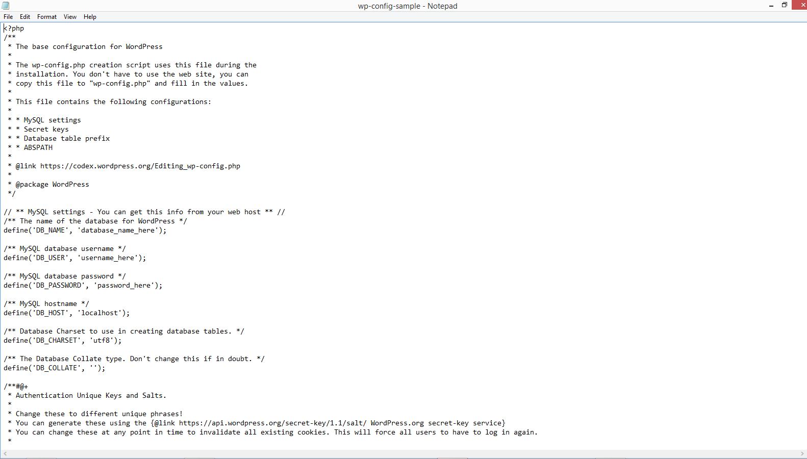 Otvaranje datoteke wp-config-sample.php u programu Notepad
