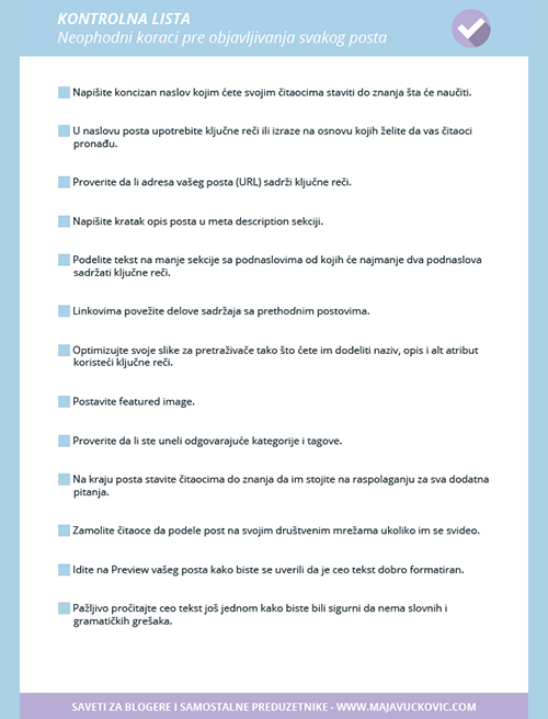 Kontrolna lista neophodnih koraka pre objavljivanja svakog posta