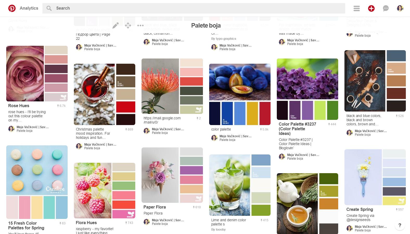 Tabla Palete boja na Pinterestu